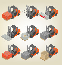icon forklift with cargo isometric vector image