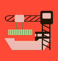 Icon in flat design container loading ship vector
