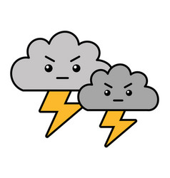 Kawaii clouds angry cartoon and thunderbolt vector