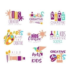 Kids Creative Class Template Promotional Logo Set vector image