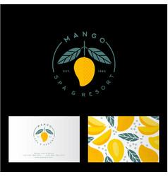 Logo mango spa identity business card vector