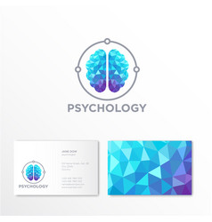 Logo psychologist crystal brain emblem vector