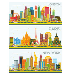 London paris new york skyline with color vector