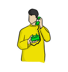 man using green desk telephone with vector image