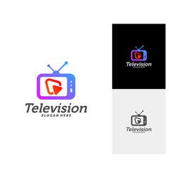 Media tv creative logo concepts play television vector