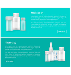 medication and pharmacy web posters blank capsules vector image