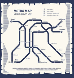 metro subway map - subway poster design vector image