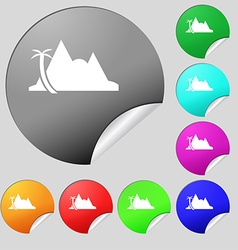 Mirage icon sign Set of eight multi colored round vector