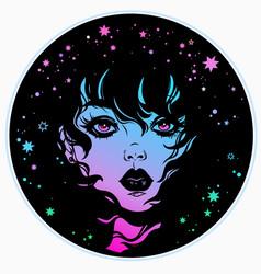 Mystical face a girl with cosmic motives vector