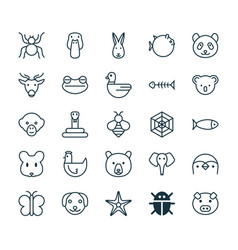 Nature icons set collection of rat baboon moth vector