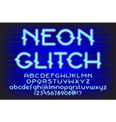 neon glitch font 01 vector image