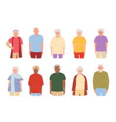 Old people elderly smile group cartoon set vector