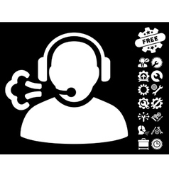 Operator Speech Icon with Tools Bonus vector image