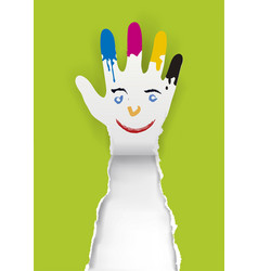 Paper hand with a smiling face and paint stains vector