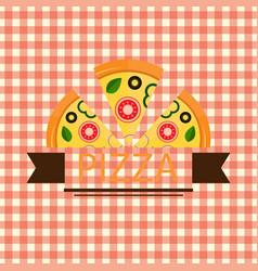 Pizza three piece brown ribbon logo vector