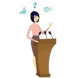 Politician giving a speech from tribune vector