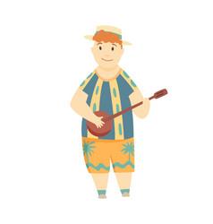 positive man playing ukulele happy hawaiian boy vector image