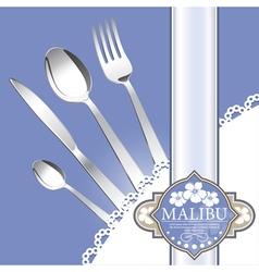 Restaurant menu design on blue background vector