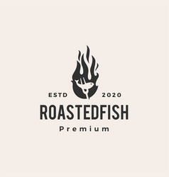 roasted fish fire flame hipster vintage logo icon vector image
