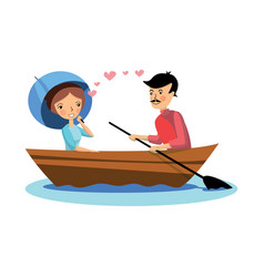 romantic couple on boat rowing woman holding vector image