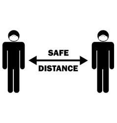 safe distance arrow stick figure with mask vector image