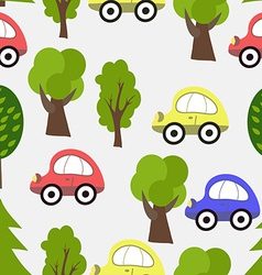 Seamless pattern with car and tree background vector