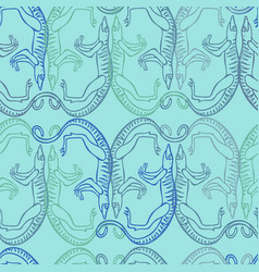 Seamless pattern with stylized ancient animals vector