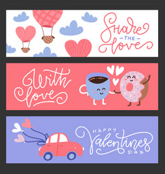 Set flat design valentines day greeting cards vector