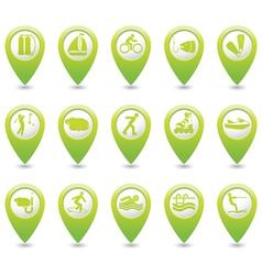 Set of 15 sport GREEN map pointer vector