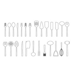 Set of cutlery outlines vector