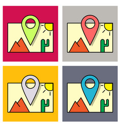 Set travel pin location on a global map flat vector