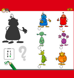 Shadows activity game with alien characters vector