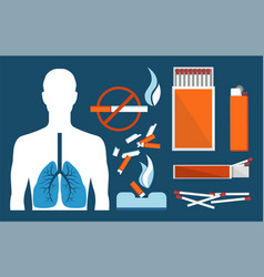 Sick human lungs and harmful tobacco products set vector