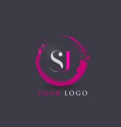 Sj letter logo circular purple splash brush vector