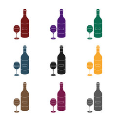 spanish wine bottle with glass icon in black style vector image vector image
