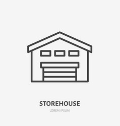 Storehouse flat line icon thin sign of vector