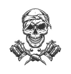 vintage monochrome skull in bandana vector image