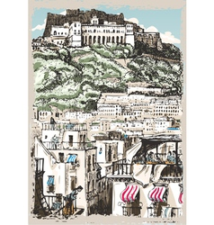 Vintage View of Castle and Palaces in Naples Italy vector