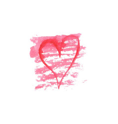 Watercolor heart on white background sketch vector