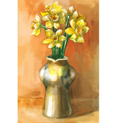 Watercolor painting daffodil flowers in vector