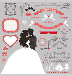 wedding invitation decoration setkissing coupl vector image