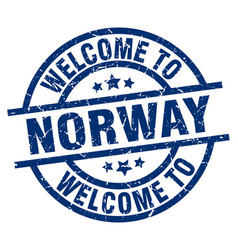 Welcome to norway blue stamp vector