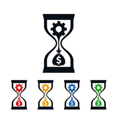wheel and dollar sign in hourglass vector image