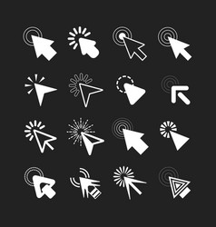White cursor pointers click icons set on black vector