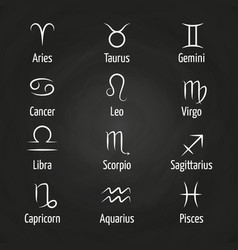 White zodiac signs on blackboard vector