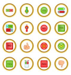 Yes no icons circle vector