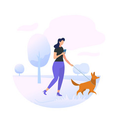 Young woman character walking with dog in park vector