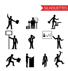 Black businessman silhouettes icons set isolated vector