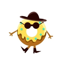 Humanized doughnut with yellow glazing and black vector