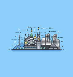 russia icon linear style vector image vector image